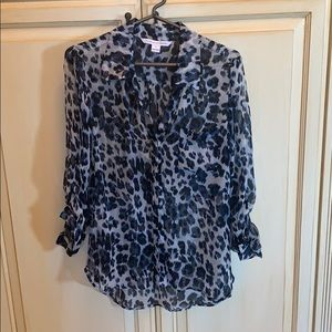 DVF sheer leopard blouse